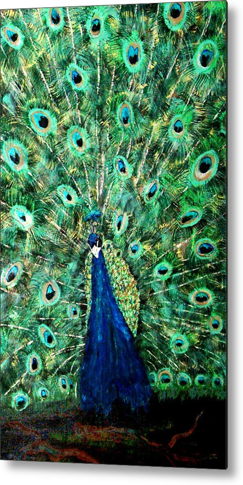Peacock Metal Print featuring the painting Peacock by Mikki Alhart
