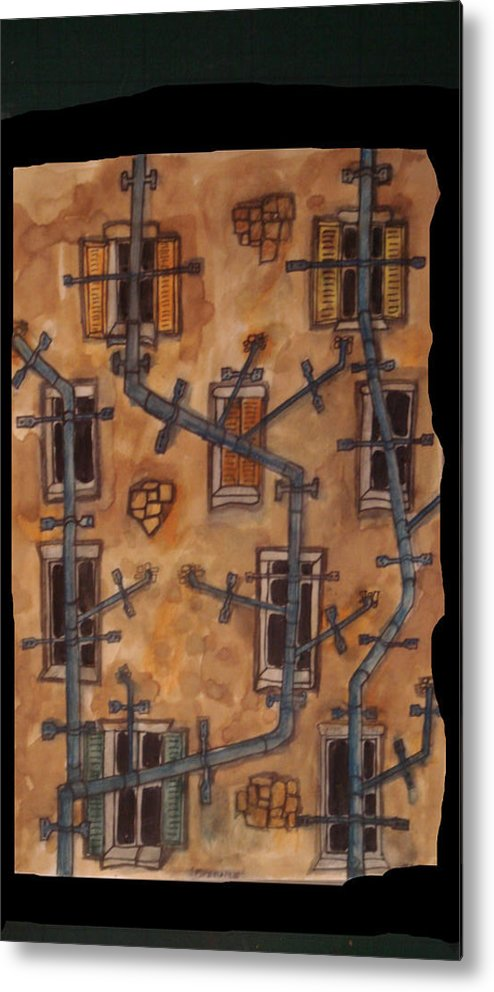 Oldbuilding Metal Print featuring the painting Pipemare by Phil Austen