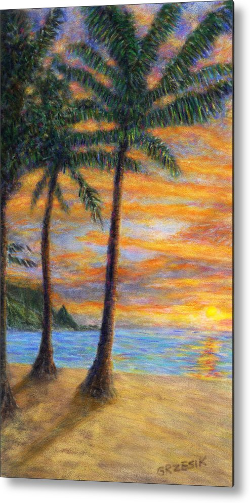 Coastal Decor Metal Print featuring the painting Princeville Beach Palms by Kenneth Grzesik