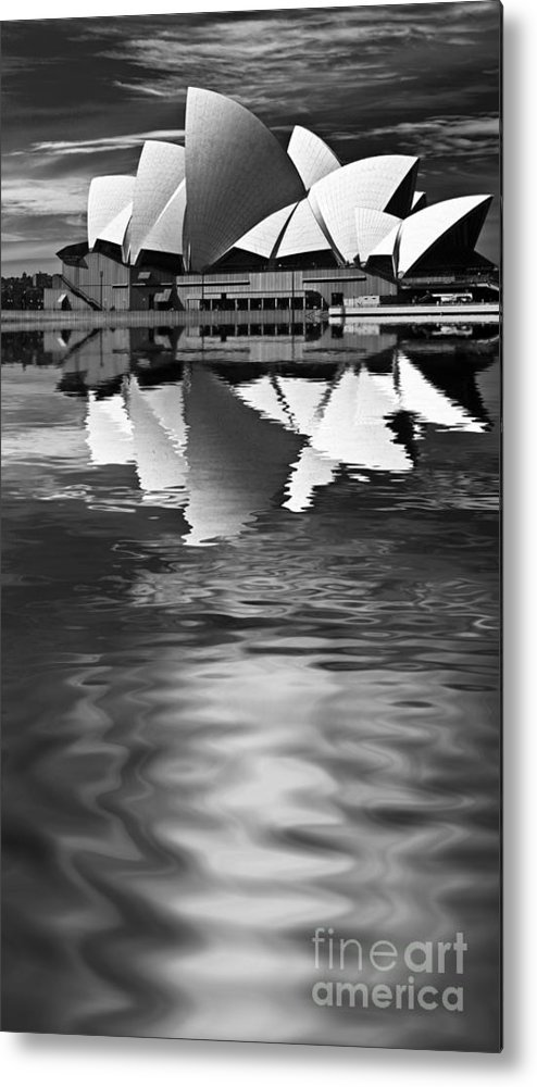 Sydney Opera House Monochrome Black And White Metal Print featuring the photograph Sydney Opera House Reflection In Monochrome by Sheila Smart Fine Art Photography