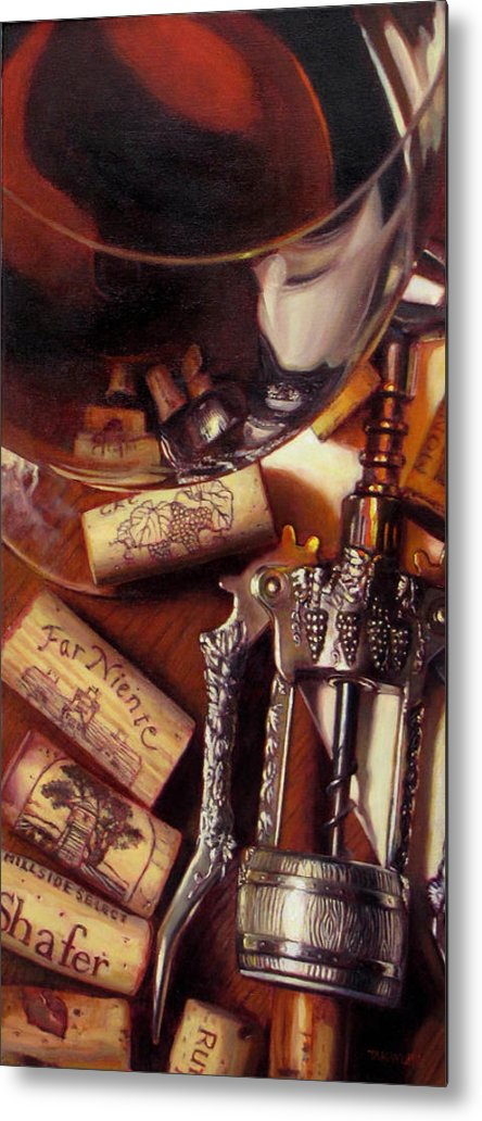 Wine Still Life. Red Wine Metal Print featuring the painting Anticipation by Takayuki Harada