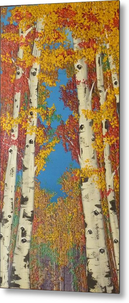 Fall Metal Print featuring the painting Pathways by Cathy Frick