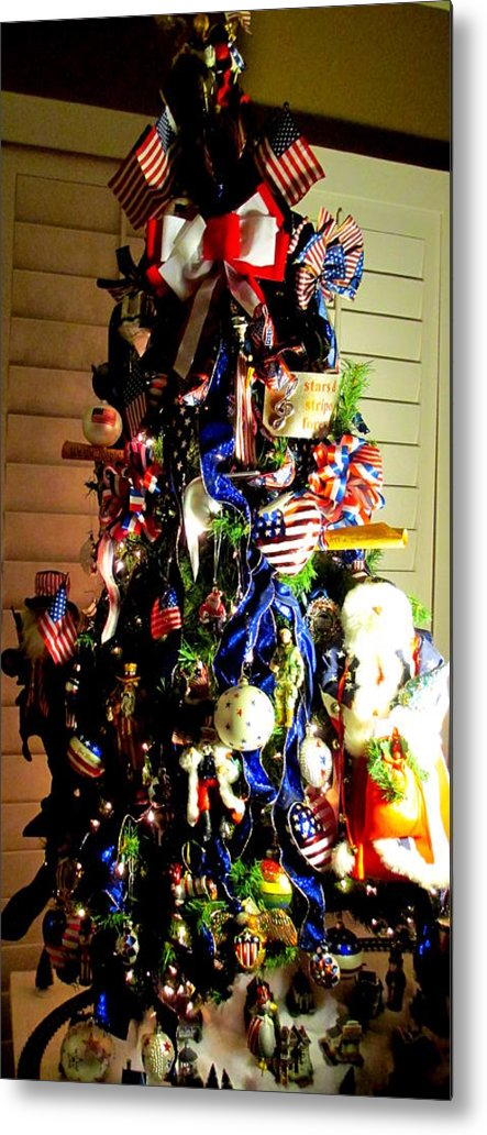 Patriotic Christmas Lights.Patriotic Christmas Tree Metal Print