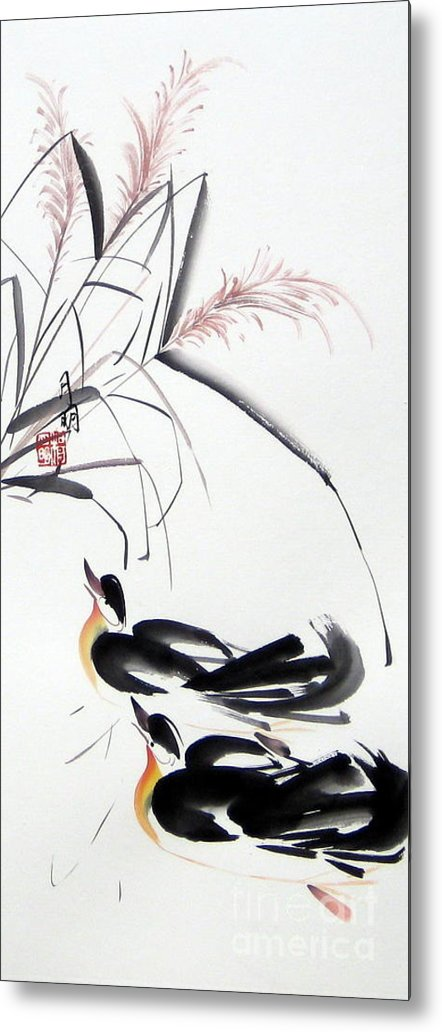 Chinese Painting Metal Print featuring the painting Home Coming by Ming Yeung