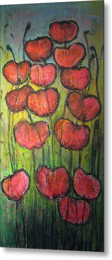 Poppies Metal Print featuring the painting Poppies In Oil by Laurie Maves ART