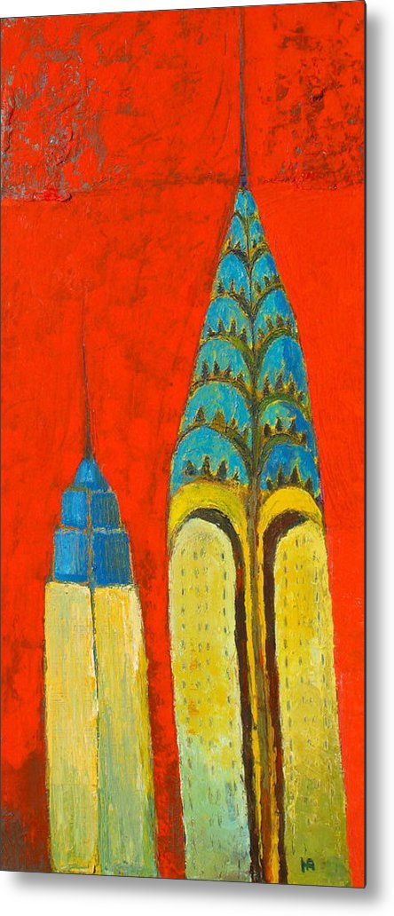Metal Print featuring the painting The Chrysler And The Empire State by Habib Ayat