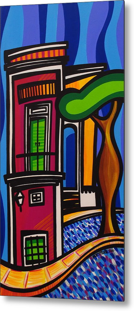 Puerto Rico Metal Print featuring the painting The Green Door by Mary Tere Perez