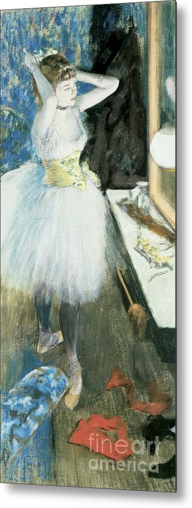 Dancer In Her Dressing Room Metal Print featuring the pastel Dancer In Her Dressing Room by Edgar Degas