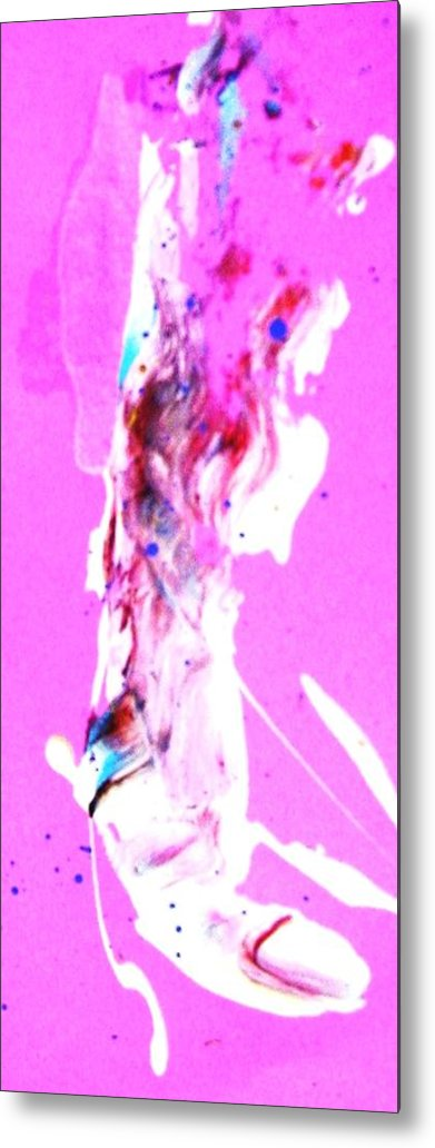 Magenta Metal Print featuring the painting Grenade Left Big Toe Or Thumb by Bruce Combs - REACH BEYOND