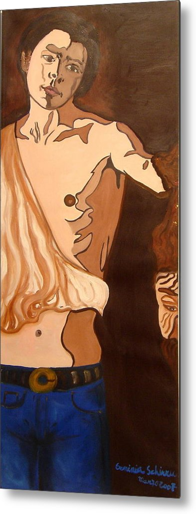 Figurative Metal Print featuring the painting The Mask Man by Erminia Schirru