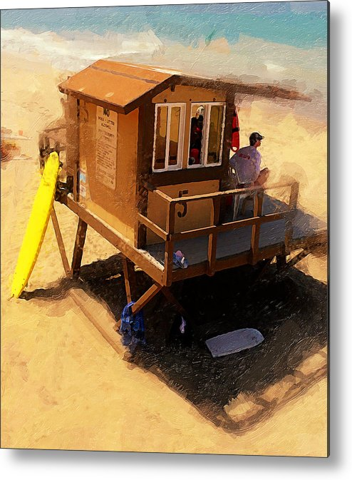 Lifeguard Station At San Clemente State Beach Metal Print featuring the photograph The Ocean Guard by Ron Regalado