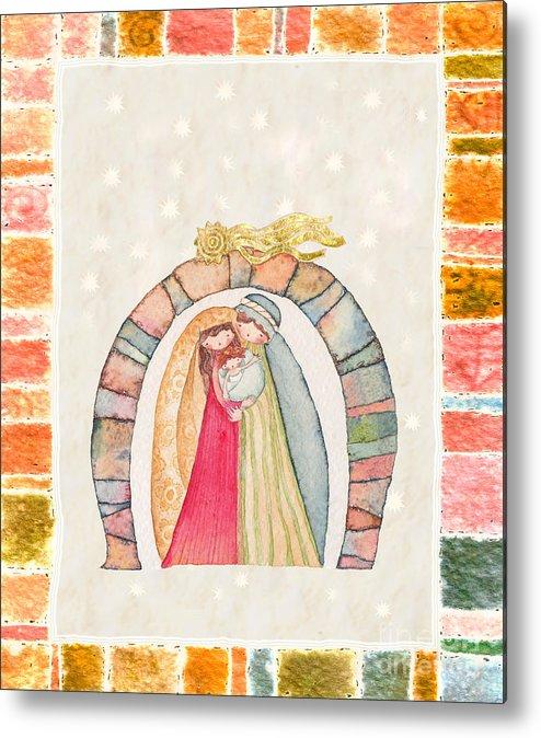 Art Metal Print featuring the painting Christmas Nativity Scene by Vita Masi