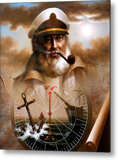 Sea Captain Metal Print featuring the painting News Map Captain 5 Or Sea Captain by Yoo Choong Yeul