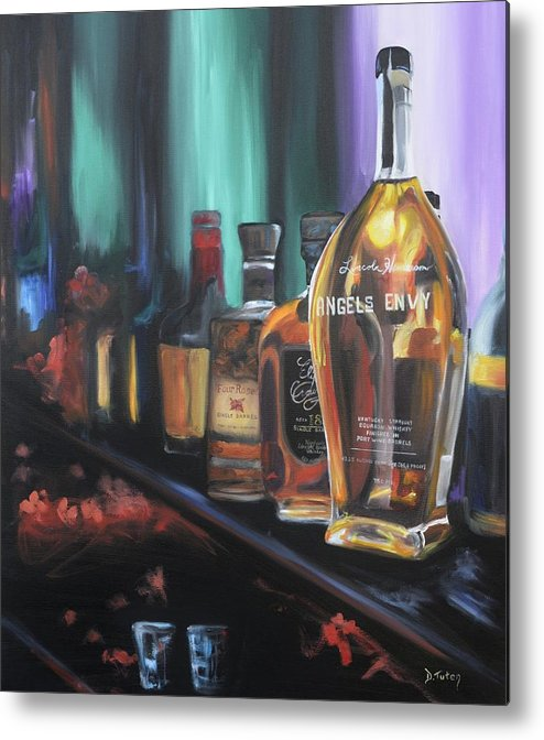 Bourbon Metal Print featuring the painting Bourbon Bar Oil Painting by Donna Tuten