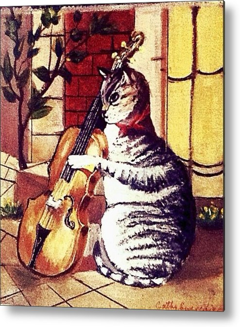 Cats Metal Print featuring the painting Cat And The Fiddle by Catherine Swerediuk