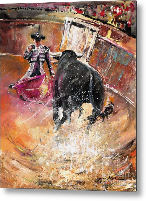 Bullfight Metal Print featuring the painting Come If You Dare by Miki De Goodaboom