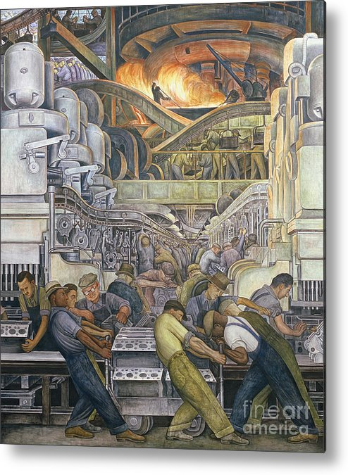 Machinery Metal Print featuring the painting Detroit Industry North Wall by Diego Rivera