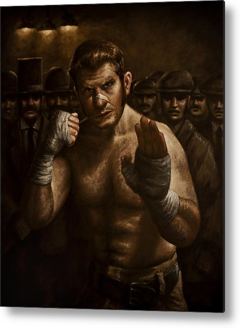 Fight Metal Print featuring the painting Fight by Mark Zelmer