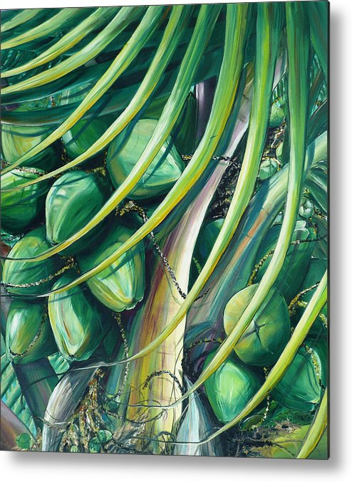 Coconut Painting Caribbean Painting Coconuts Caribbean Tropical Painting Palm Tree Painting  Green Botanical Painting Green Painting Metal Print featuring the painting Green Coconuts 2 by Karin Dawn Kelshall- Best