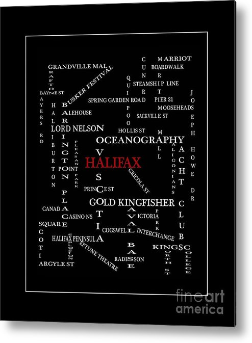 Halifax Nova Scotia Crosswords Red Metal Print featuring the digital art Halifax Nova Scotia Crosswords Red by Barbara Griffin