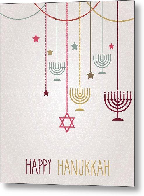 Hanging Metal Print featuring the drawing Hanukkah Card. Hanging Colorful Menorah by BojanMirkovic