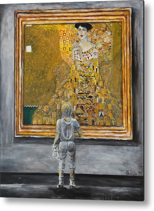 Painting Of Klimt Metal Print featuring the painting I Dream Of Klimt by Nik Helbig