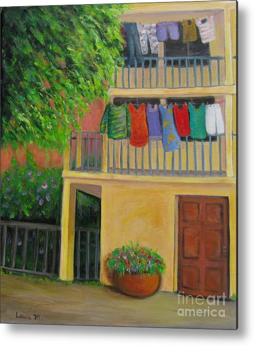 Laundry Metal Print featuring the painting Laundry Day by Laurie Morgan