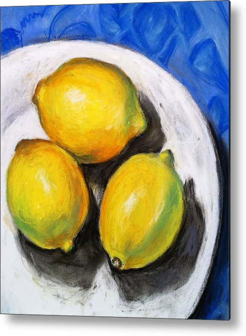 Lemons Metal Print featuring the pastel Lemons On Blue by Sherry Ackerson