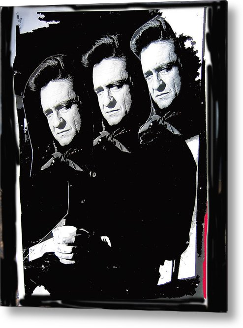 Multiple Johnny Cash Sitting Collage Surrealism Old Tucson Arizona Metal Print featuring the photograph Multiple Johnny Cash Sitting Old Tucson Arizona 1971-2008 by David Lee Guss