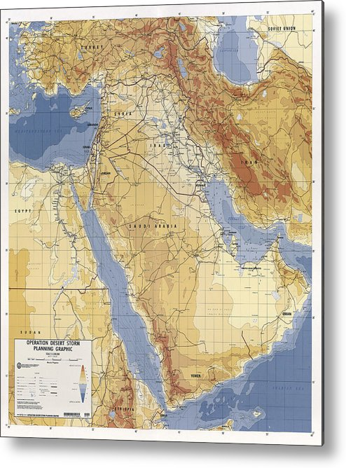 desert Storm Metal Print featuring the photograph Operation Desert Storm Planning Map 1991 by Compass Rose Maps