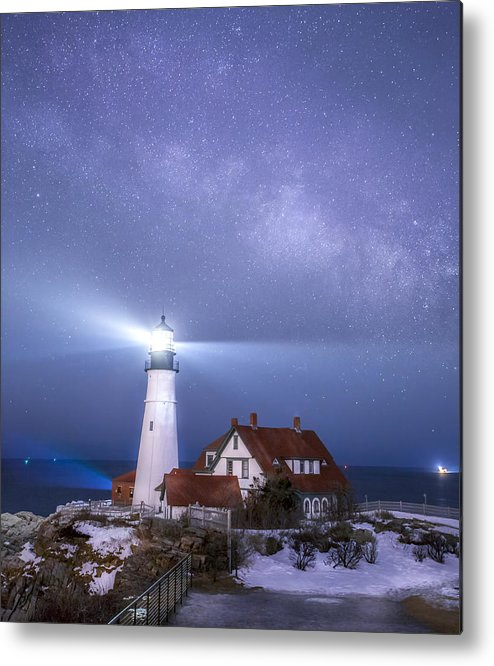 Portland Head Light Metal Print featuring the photograph Portland Head Light Under The Milky Way by Shane Borelli