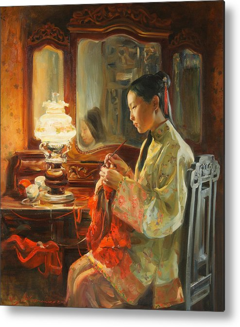 China Metal Print featuring the painting Quiet Evening by Victoria Kharchenko