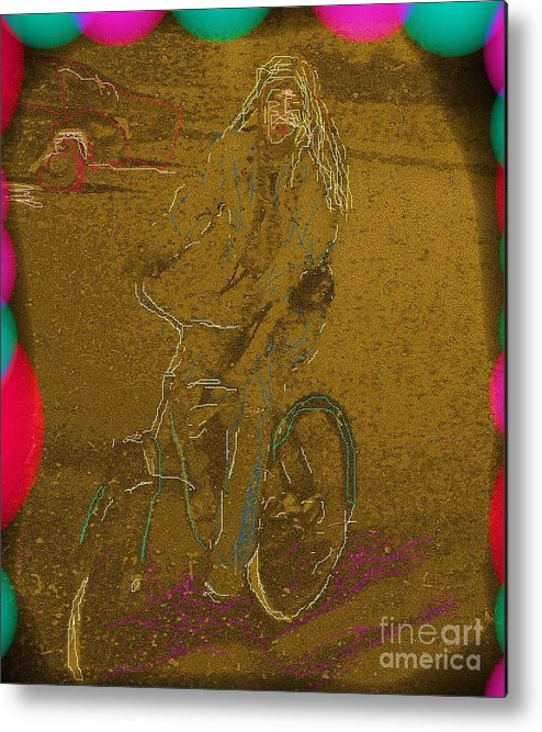 Self Portrait Metal Print featuring the photograph Self Portrait - Artist On Bicycle by Susan Carella