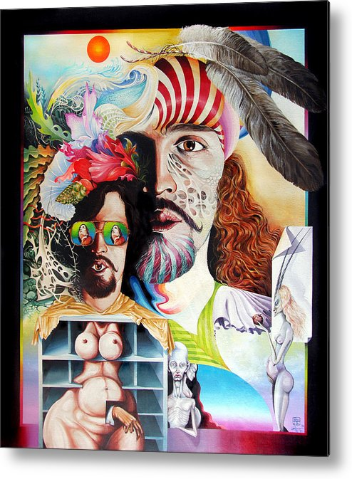 Surrealism Metal Print featuring the painting Selfportrait With The Critical Eye by Otto Rapp