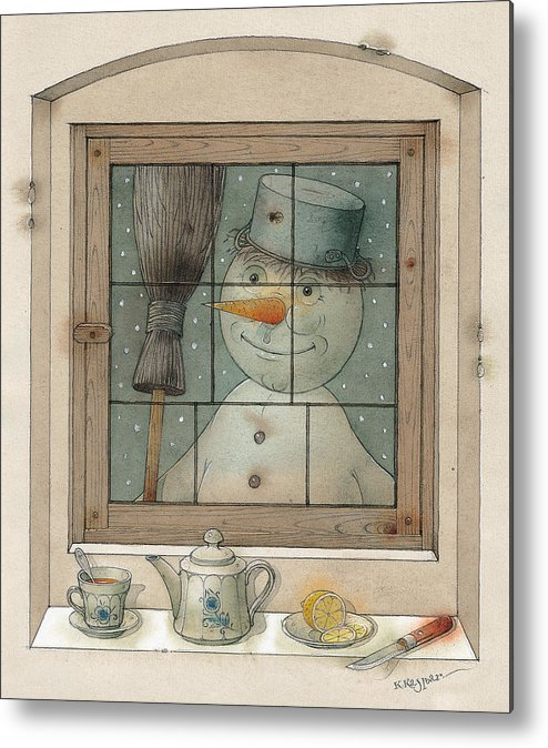 Snowman Winter Tea Breakfast Christmas Holiday Metal Print featuring the painting Snowman by Kestutis Kasparavicius