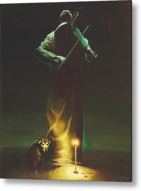 Figures Metal Print featuring the painting Violinist by Andrej Vystropov