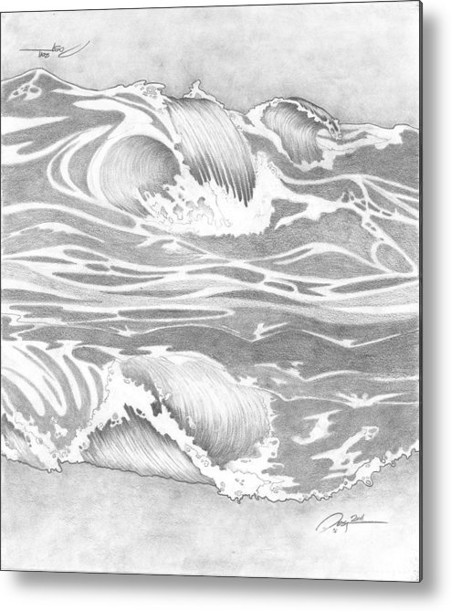Ocean Wave Metal Print featuring the drawing Wave by Rick Yost