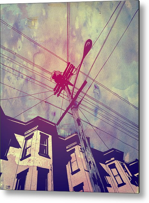 Giuseppe Cristiano Metal Print featuring the drawing Wires by Giuseppe Cristiano