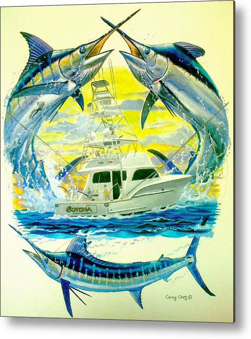 Sportfishing Boat Metal Print featuring the painting Custom Artwork by Carey Chen