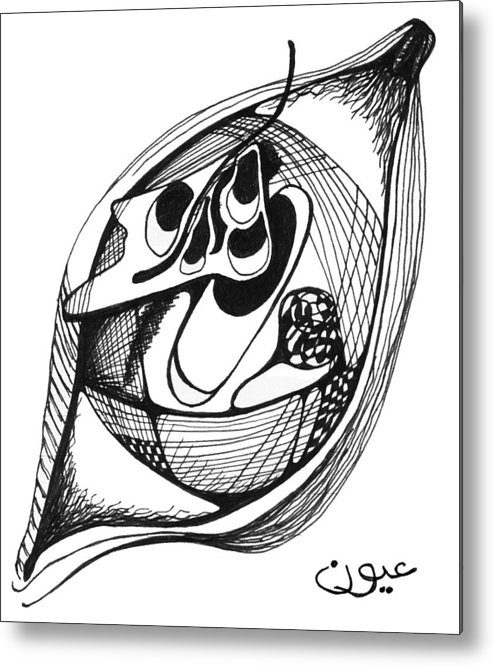 Eyes Metal Print featuring the drawing Eyes by Emile Ibrahim