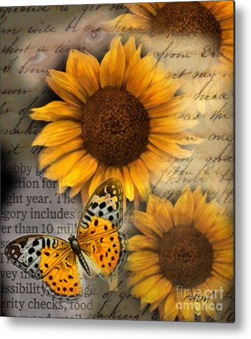Art;flowers;sunflowers;butterfly;fall;digital Collage;unique;one Of A Kind Metal Print featuring the digital art Eyes On Fall by Ruby Cross