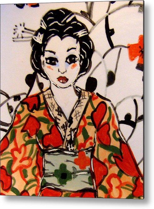 Art Metal Print featuring the ceramic art Geisha In Training by Patricia Lazar