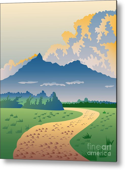 Illustration Metal Print featuring the digital art Road Leading To Mountains by Aloysius Patrimonio