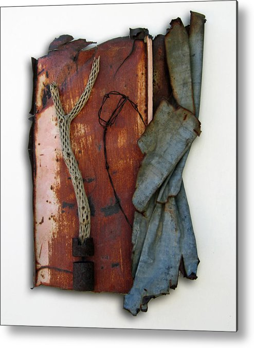 Assemblage Sculptures Metal Print featuring the sculpture Rustic Elegance by Snake Jagger