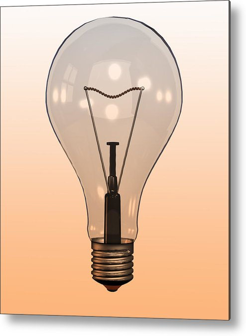Vertical Metal Print featuring the photograph Single Light Bulb On Coloured Background by Calysta Images