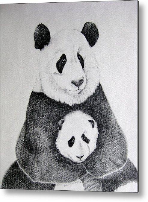 Pandas Metal Print featuring the drawing Terris Pandas by Kathrine McMurray