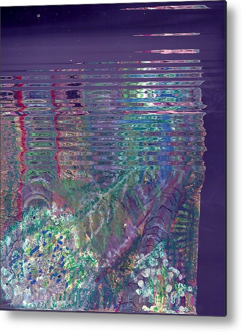 Fun Metal Print featuring the mixed media Purple Linear Abstraction by Anne-Elizabeth Whiteway