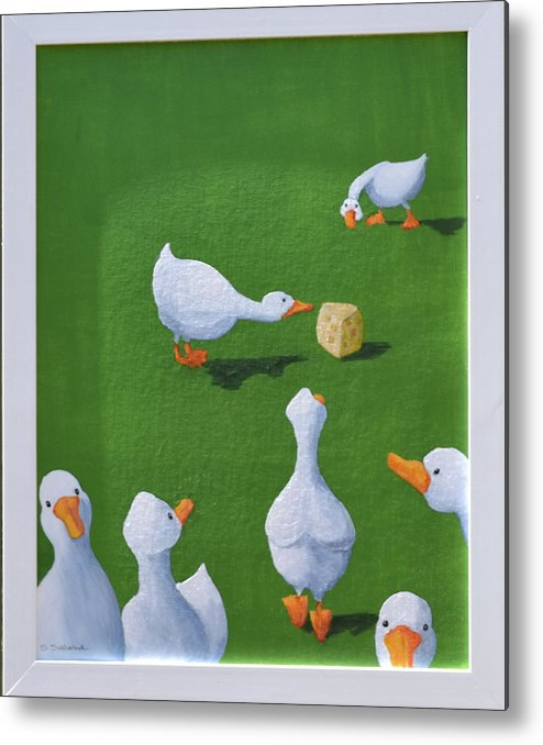 Ducks With Cheese Metal Print featuring the painting Cheese And Quackers by Sheryl Sutherland