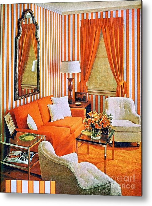 1960 70 Stylish Metal Print featuring the photograph 1960 70 Stylish Living Room Advertisement Orange And Stripes Groovy Baby by R Muirhead Art