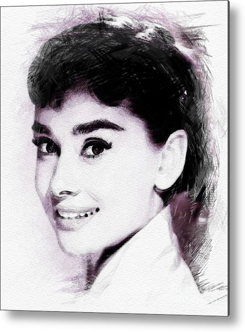 Audrey Metal Print featuring the digital art Audrey Hepburn, Vintage Actress by John Springfield